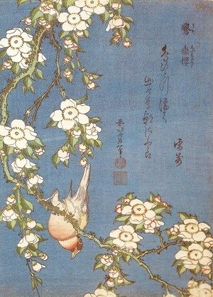 Katsushika Hokusai - Weeping Cherry and Bullfinch