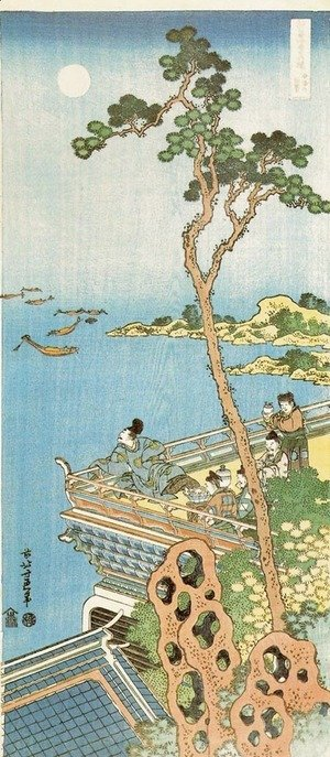 Katsushika Hokusai - Abe No Nakamaro Gazing at the Moon from a Terrace