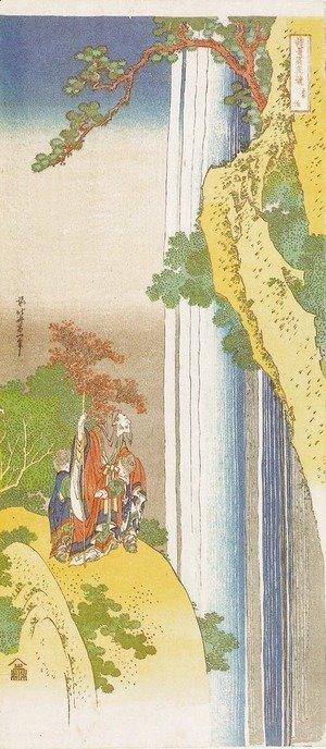 Katsushika Hokusai - Li Po Admiring the Waterfall of Lo-Shan