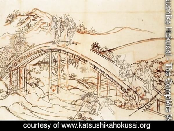 Katsushika Hokusai - People Crossing an Arched Bridge
