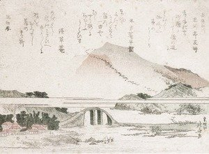 Katsushika Hokusai - Mountainous Landscape with a Bridge