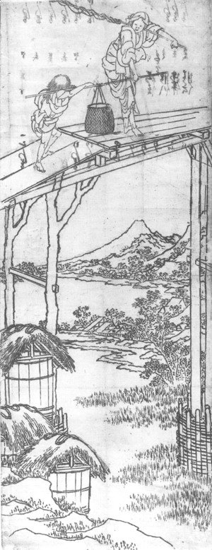 Katsushika Hokusai - Woman and a Boy Crossing a Bridge