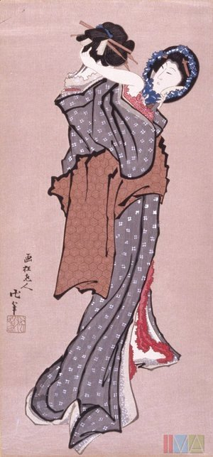 Katsushika Hokusai - Woman Looking in Mirror