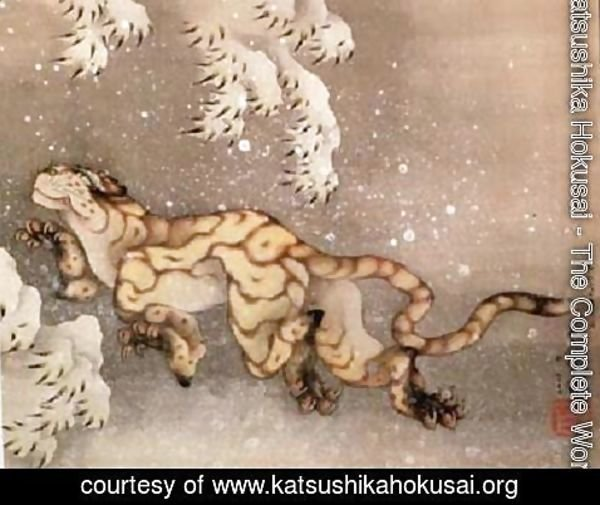 Katsushika Hokusai - Old Tiger in the Snow