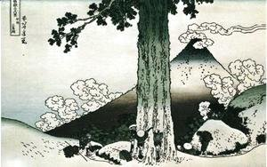 Katsushika Hokusai - Measuring a Pine Tree at Mishima Pass in Ko Province