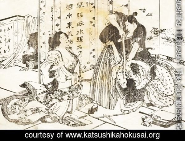 Katsushika Hokusai - A mean man will kill a woman with his sword