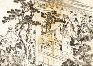 Katsushika Hokusai - A scene of a shinto shrine dance, kagura