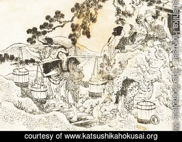 Katsushika Hokusai - Four women working very hard and carrying vats of water