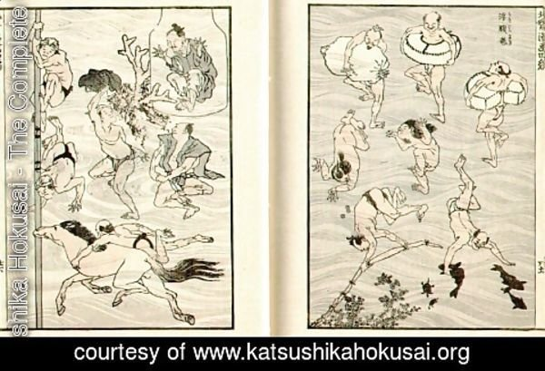 Katsushika Hokusai - Images of Bathers (Bathing People)