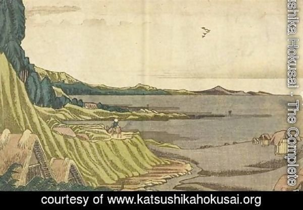Katsushika Hokusai - View of the beach at low tide Noboto from the coast to Gyotoku