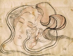 Katsushika Hokusai - Head of the snake woman