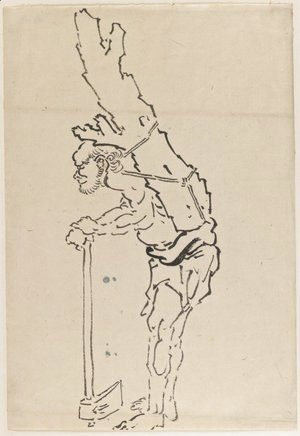 Katsushika Hokusai - Drawing of Man Resting on Axe and Carrying Part of Tree Trunk on His Back