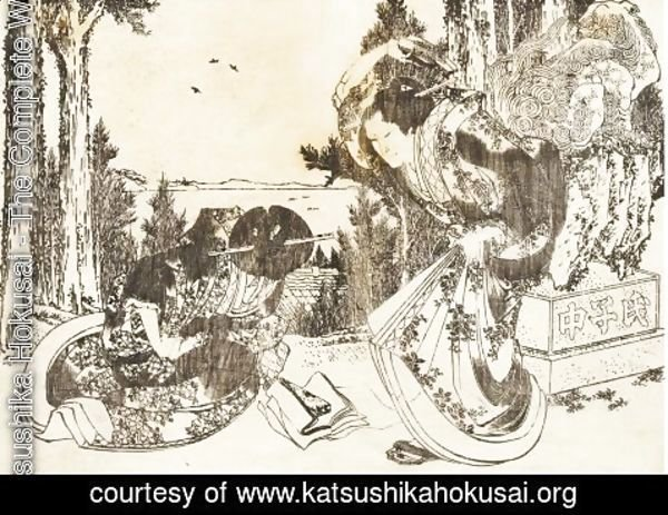 Katsushika Hokusai - An older woman hits another woman with her shoe