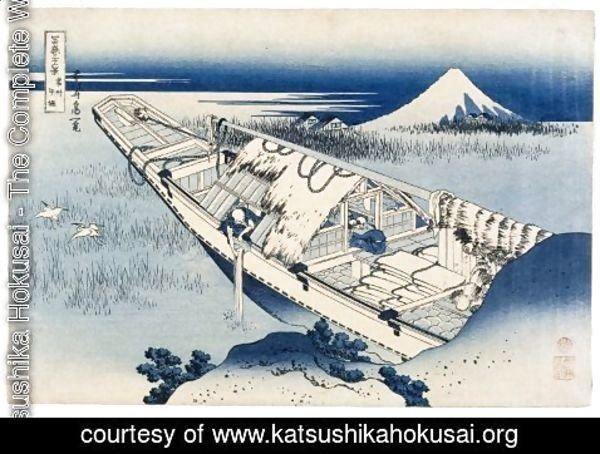 Katsushika Hokusai - View of Fuji from a Boat at Ushibori