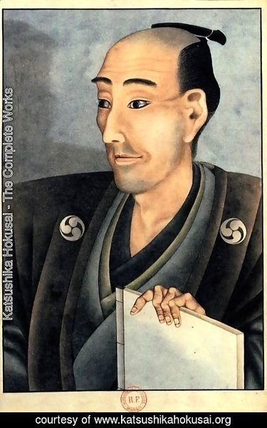 Katsushika Hokusai - Portrait of a man of noble birth with a book