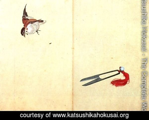 Katsushika Hokusai - Pair of sissors and sparrow