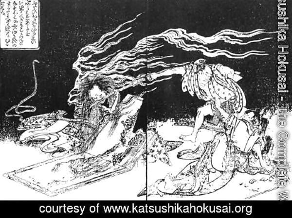 Katsushika Hokusai - Vengeful ghost that manifests in physical (rather than spectral) form