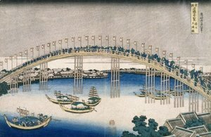 Katsushika Hokusai - The Festival of Lanterns on Temma Bridge