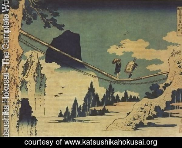Katsushika Hokusai - The Suspension Bridge Between Hida and Etchu