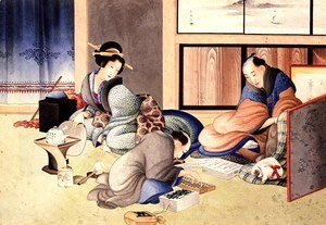 Katsushika Hokusai - A merchant making up the account