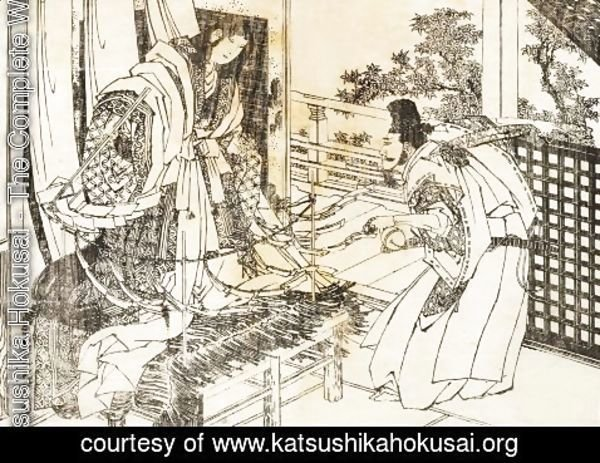 Katsushika Hokusai - A woman in shinto shrine has a stick with a lot of paper leaves