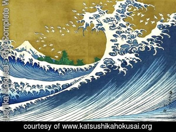 Katsushika Hokusai - A colored version of the Big wave