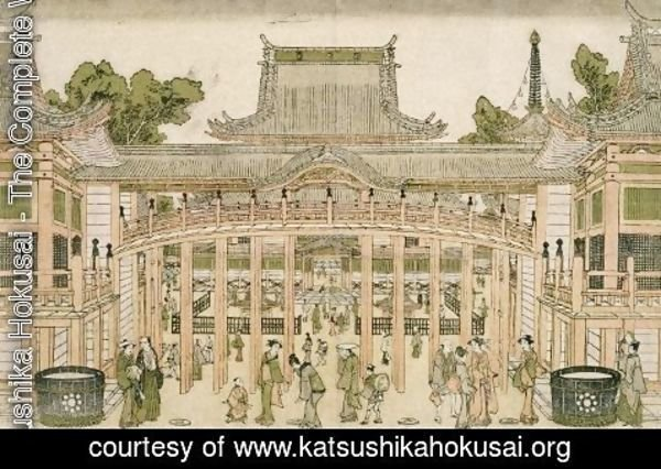 Katsushika Hokusai - Inside the Courtyard of the Toeizan Temple at Ueno