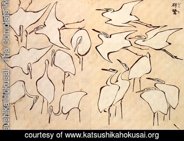 Katsushika Hokusai - Cranes from Quick Lessons in Simplified Drawing