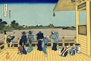 Katsushika Hokusai - Sazai Hall of the Temple of the Five-hundred Rakan (Gohyaku Rakanji Sazaido)