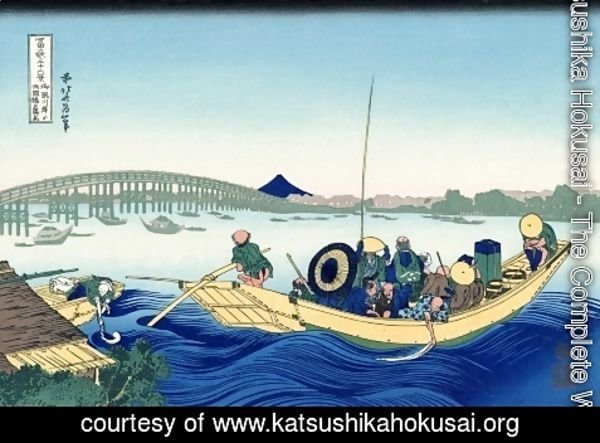 Katsushika Hokusai - Viewing the Evening Sun at Ryogoku Bridge from Onmayagashi (Onmayagashi yori Ryogokubashi no sekiyo o miru)