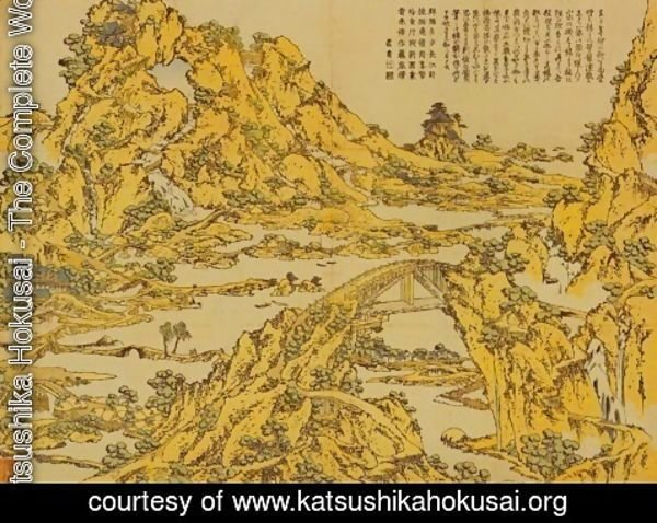Katsushika Hokusai - Landscape with a Hundred Bridges
