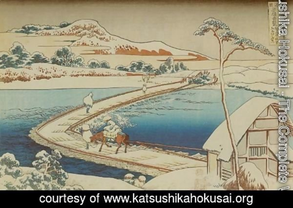 Katsushika Hokusai - View of the Old Boat-Bridge at Sano in Kozuke Province (Kozuke Sano funabashi no kozu)