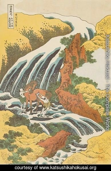Katsushika Hokusai - Waterfall where Yoshitsune Washed his Horse at Yoshino in Yamato Province (Washu Yoshino Yoshitsune uma arai no taki)