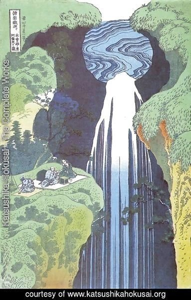 Katsushika Hokusai - Amida Waterfall on the Kisokaido Road (Kisoji no oku Amidagataki)